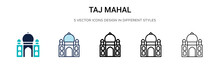 Taj Mahal Icon In Filled, Thin...