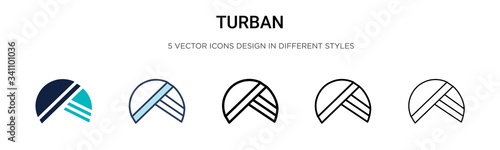 Turban icon in filled, thin line, outline and stroke style Canvas-taulu