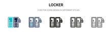 Locker Icon In Filled, Thin Li...