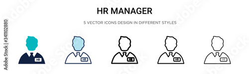 Obraz Hr manager icon in filled, thin line, outline and stroke style. Vector illustration of two colored and black hr manager vector icons designs can be used for mobile, ui, - fototapety do salonu