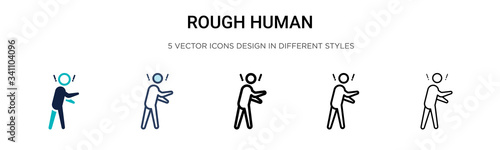 Photo Rough human icon in filled, thin line, outline and stroke style