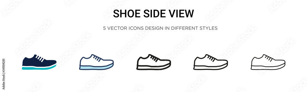 Fototapeta Shoe side view icon in filled, thin line, outline and stroke style. Vector illustration of two colored and black shoe side view vector icons designs can be used for mobile, ui,