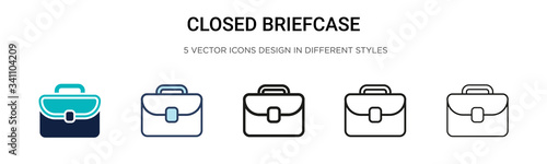 Closed briefcase icon in filled, thin line, outline and stroke style Canvas Print