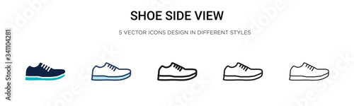 Shoe side view icon in filled, thin line, outline and stroke style. Vector illustration of two colored and black shoe side view vector icons designs can be used for mobile, ui,