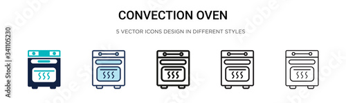 Fototapeta Convection oven icon in filled, thin line, outline and stroke style. Vector illustration of two colored and black convection oven vector icons designs can be used for mobile, ui, obraz