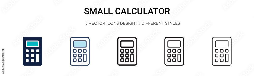 Fototapeta Small calculator icon in filled, thin line, outline and stroke style. Vector illustration of two colored and black small calculator vector icons designs can be used for mobile, ui,