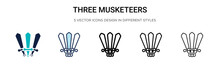 Three Musketeers Icon In Filled, Thin Line, Outline And Stroke Style. Vector Illustration Of Two Colored And Black Three Musketeers Vector Icons Designs Can Be Used For Mobile, Ui,