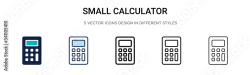 Canvastavla Small calculator icon in filled, thin line, outline and stroke style