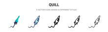 Quill Icon In Filled, Thin Lin...