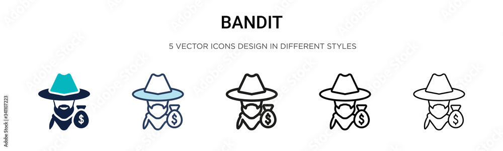 Fototapeta Bandit icon in filled, thin line, outline and stroke style. Vector illustration of two colored and black bandit vector icons designs can be used for mobile, ui,