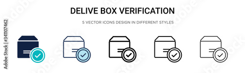 Obraz Delivered box verification icon in filled, thin line, outline and stroke style. Vector illustration of two colored and black delivered box verification vector icons designs can be used for mobile, - fototapety do salonu