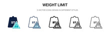 Weight Limit Icon In Filled, Thin Line, Outline And Stroke Style. Vector Illustration Of Two Colored And Black Weight Limit Vector Icons Designs Can Be Used For Mobile, Ui,