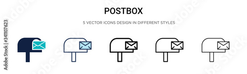 Photo Postbox icon in filled, thin line, outline and stroke style