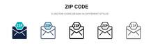 Zip Code Icon In Filled, Thin ...