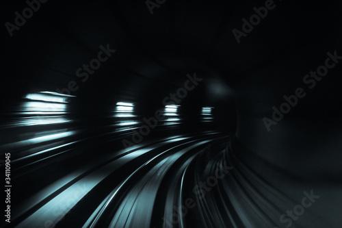 Blurred Motion Of Tunnel - fototapety na wymiar