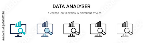Data analyser icon in filled, thin line, outline and stroke style Wallpaper Mural