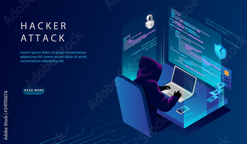 Photo Isometric Internet And Personal Data Hacker Attack Concept