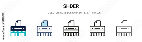 Shredder icon in filled, thin line, outline and stroke style Wallpaper Mural