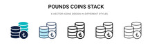 Pounds Coins Stack Icon In Fil...
