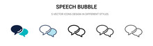 Speech Bubble Icon In Filled, Thin Line, Outline And Stroke Style. Vector Illustration Of Two Colored And Black Speech Bubble Vector Icons Designs Can Be Used For Mobile, Ui,