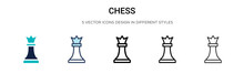 Chess Icon In Filled, Thin Line, Outline And Stroke Style. Vector Illustration Of Two Colored And Black Chess Vector Icons Designs Can Be Used For Mobile, Ui,