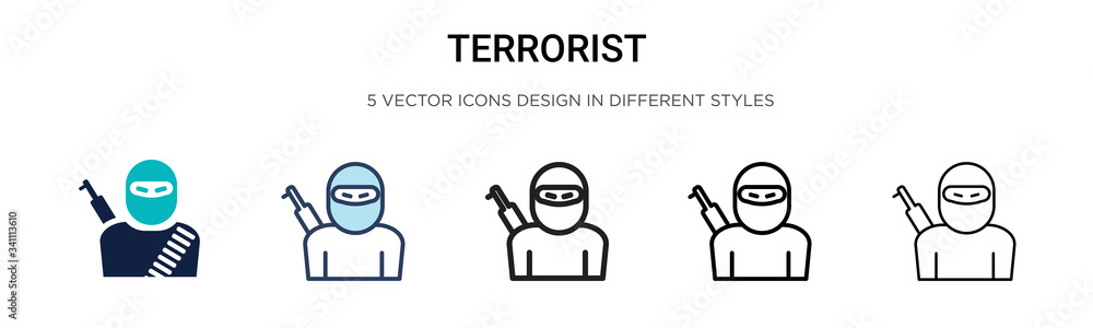 Fototapeta Terrorist icon in filled, thin line, outline and stroke style. Vector illustration of two colored and black terrorist vector icons designs can be used for mobile, ui,