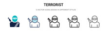 Terrorist Icon In Filled, Thin...