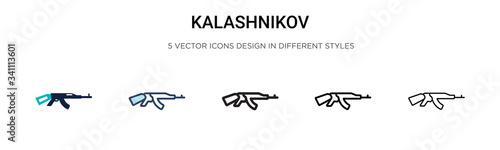 Kalashnikov icon in filled, thin line, outline and stroke style Canvas Print