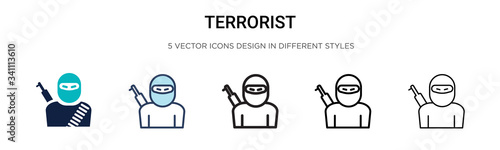 Cuadros en Lienzo Terrorist icon in filled, thin line, outline and stroke style