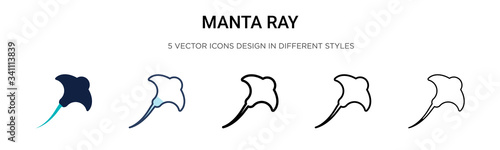 Fotografia Manta ray icon in filled, thin line, outline and stroke style
