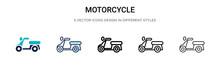 Motorcycle Icon In Filled, Thi...