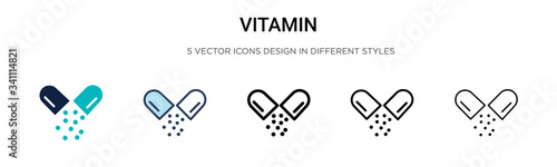 Fototapeta Vitamin icon in filled, thin line, outline and stroke style. Vector illustration of two colored and black vitamin vector icons designs can be used for mobile, ui, obraz