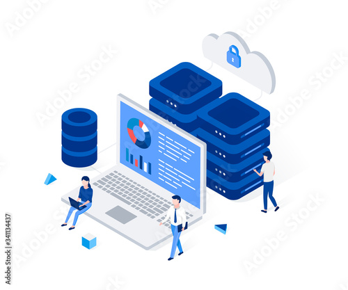 Cuadros en Lienzo Data center and web hosting isometric concept