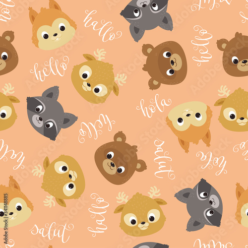 Kawaii animals seamless vector pattern