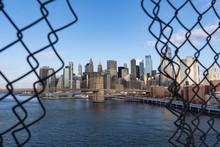 New York City Skyline. Brooklyn Bridge View.