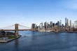 New York City skyline. Brooklyn bridge view.