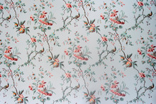 Full Frame Shot Of Vintage Wallpaper With Floral Pattern