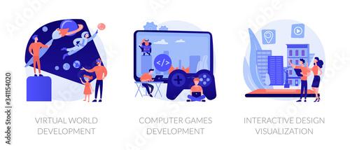 VR space exploring. Digital simulation. Virtual world development, computer games development, interactive design visualization metaphors. Vector isolated concept metaphor illustrations