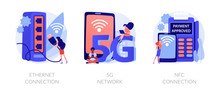 Modern Internet Technologies. Wireless Network Access, Contactless Payments, Iot System. Ethernet Connection, 5g Network, NFC Connection Metaphors. Vector Isolated Concept Metaphor Illustrations.