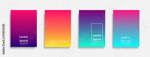 Fototapeta Minimal covers design. Halftone dots colorful design. Future geometric patterns. Eps10 vector. obraz