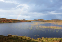 Scottish Loch With Reeds And Rainbow In The Highlands Of Sutherland Near Strathy And Bettyhill