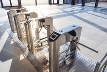 Electronic Turnstile. Access System To The Building. Pass Through The Passes. Security Systems For Rooms. Several Turnstiles Are Installed Nearby. Check Point. Automatic Checkpoint. Building Security.