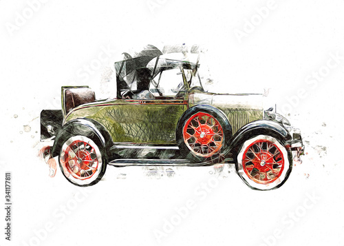 Vintage Retro Classic Old Car Illustration Canvas Print