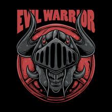 Skull Wearing Knight Helmet Illustration. Evil Warrior Design For T-shirt, Sticker,or Poster