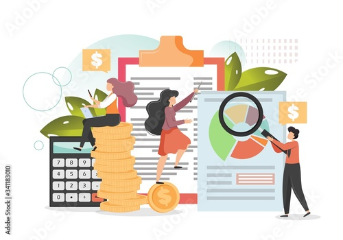Fototapeta Company budget planning, vector flat style design illustration obraz