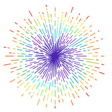Outline Drawing Of Rays Of The Sun In Rainbow Colors. Tattoo Flesh Design, Yoga Logo. Boho Print, Poster, T-shirt Textile. Anti Stress Book. Isolated Vector Illustration.