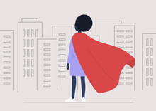 Superhero Conceptual Illustration, Young Black Female Character Wearing A Red Cape