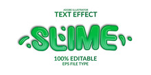 3d Green Slime Gradient Text Effect. Liquid Editable Font Adobe Illustrator
