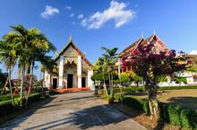 Ancient Pagoda Architecture Wat Phra That Chang Kham Worawihan, Royal Temple, Mueang Nan District  Nan Province; Thailand