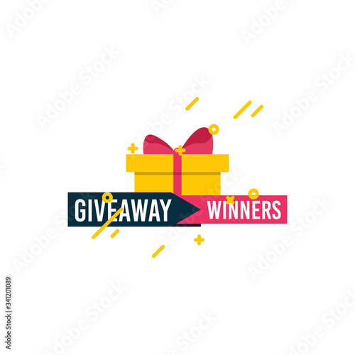 Giveaway winners template design for social media post, surprise package, subscribers reward Slika na platnu